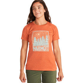 Marmot Woodblock T-shirt Dames, oranje